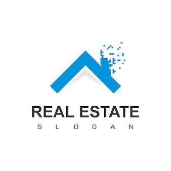 Modèle de conception de logo de maison de technologie