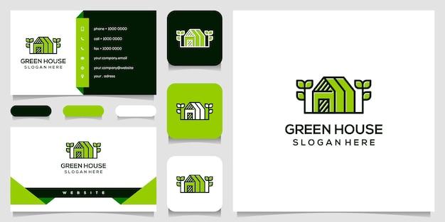 Modèle de conception de logo de maison verte. carte de visite.