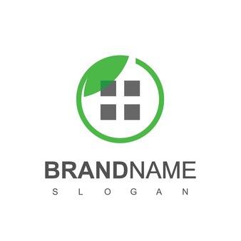 Modèle de conception de logo de maison verte, symbole de construction de la nature