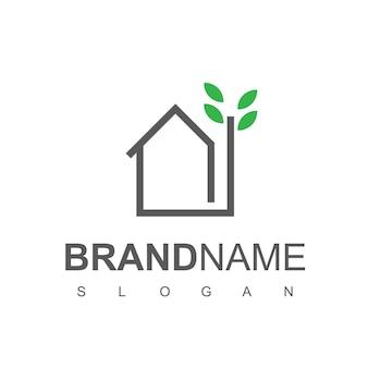 Modèle de conception de logo de maison verte