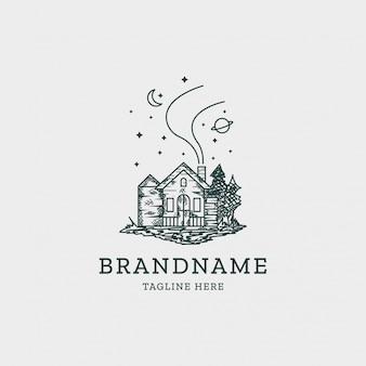 Modèle de conception de logo de maison vintage