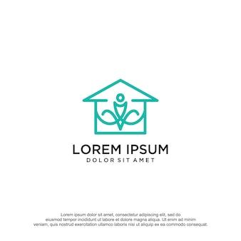 Modèle de conception de logo de maison de yoga