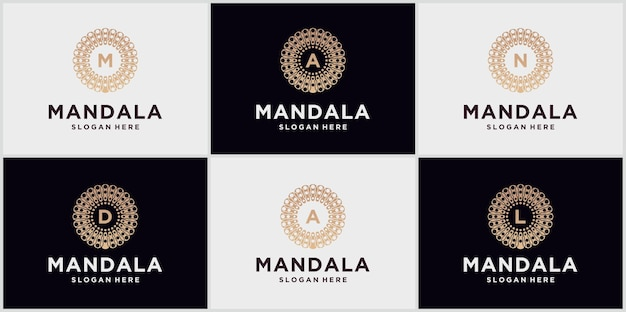 Modèle de conception de logo mandala, symbole abstrait de style mandala, emblème pour produits de luxe, hôtels, boutiques, bijoux, cosmétiques orientaux