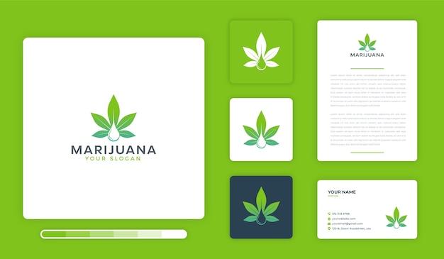 Modèle de conception de logo de marijuana