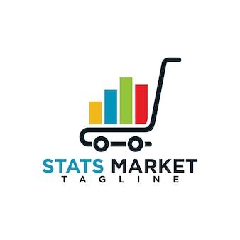 Modèle de conception de logo de marketing de statistiques