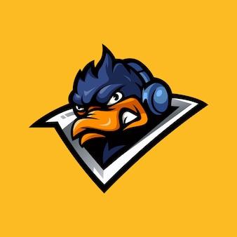 Modèle de conception de logo de mascotte esport de canard