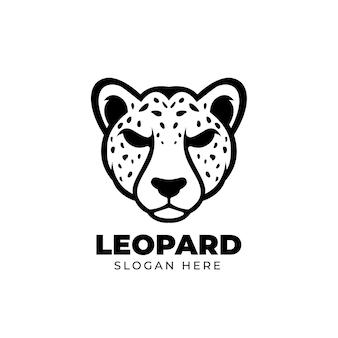 Modèle de conception de logo de mascotte léopard noir créatif