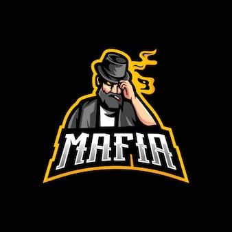 Modèle de conception de logo de mascotte mafia esport