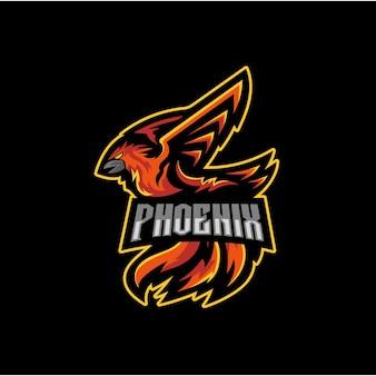 Modèle de conception de logo de mascotte phoenix esport