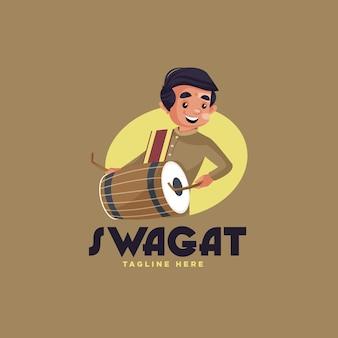 Modèle de conception de logo de mascotte swagat