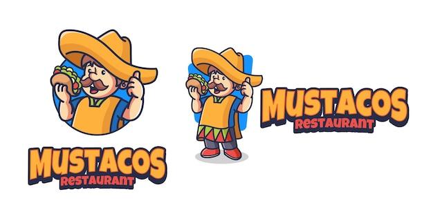 Modèle de conception de logo de mascotte taco