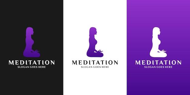 Modèle de conception de logo de méditation de femme pour le yoga