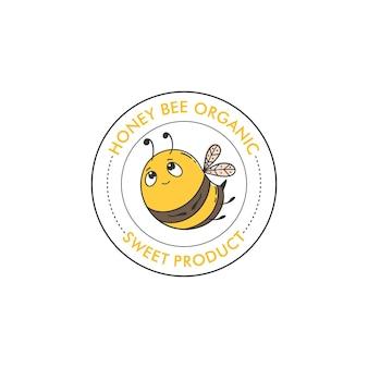 Modèle de conception de logo de miel d'abeille style linéaire illustration vectorielle