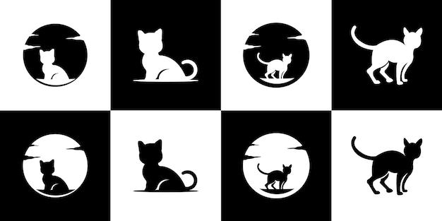 Modèle de conception de logo mignon chat