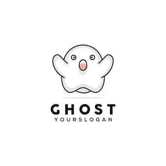 Modèle de conception de logo mignon fantôme