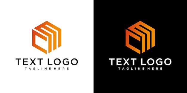 Modèle de conception de logo minimal abstrait lettre initiale cm cm