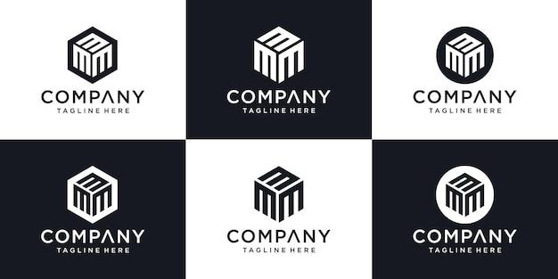 Modèle de conception de logo minimal abstrait lettre initiale m