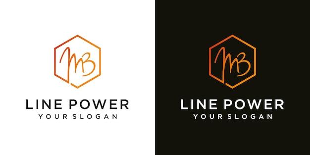 Modèle de conception de logo minimal abstrait lettre initiale mb mb