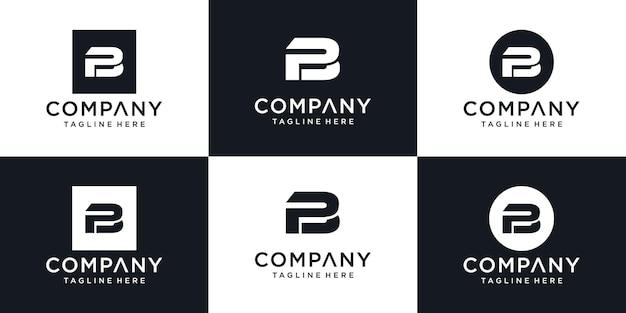 Modèle de conception de logo minimal abstrait lettre initiale pb pb