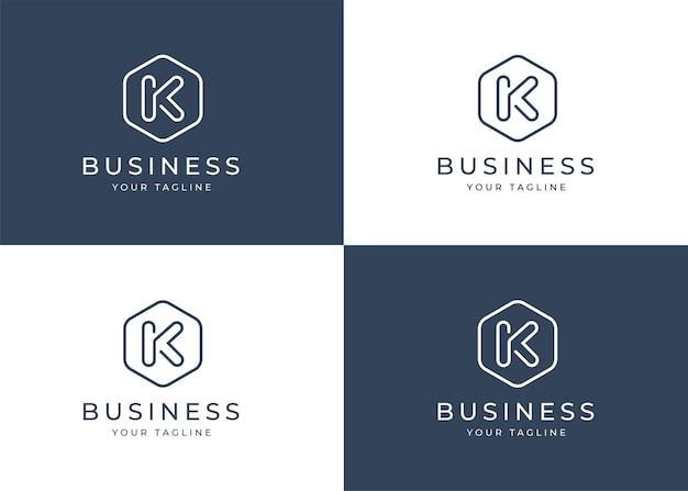 Modèle de conception de logo minimaliste lettre k avec forme géométrique