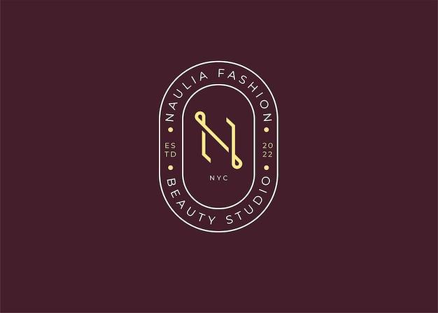 Modèle de conception de logo minimaliste lettre n initiale, style vintage s