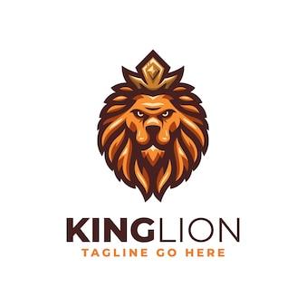 Modèle de conception de logo moderne roi lion