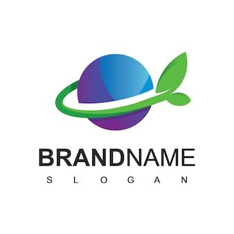 Modèle de conception de logo de monde vert