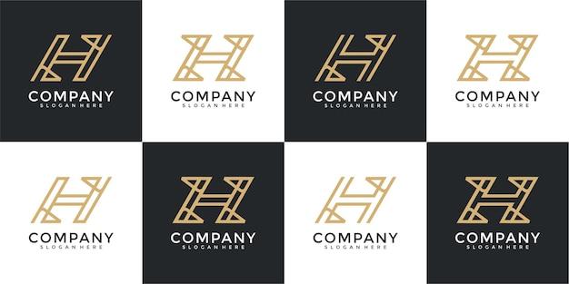 Modèle de conception de logo monogramme créatif initiales h