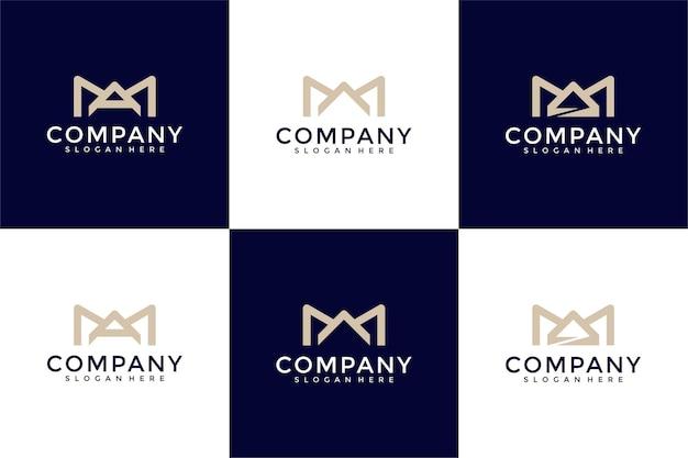 Modèle de conception de logo monogramme créatif initiales ma