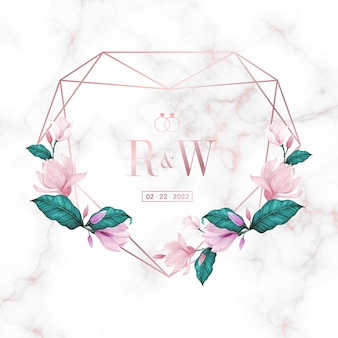 Modèle de conception de logo de monogramme de mariage. cadre floral aquarelle pour la conception de cartes d'invitation.