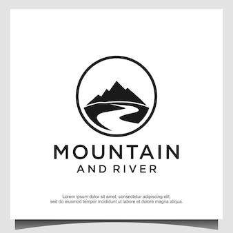 Modèle de conception de logo de montagne et de rivière