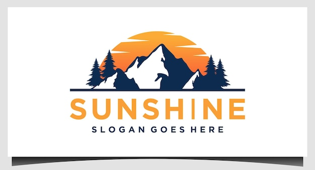 Modèle de conception de logo de montagne de soleil