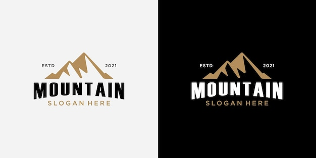 Modèle de conception de logo de montagne