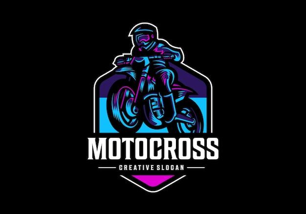 Modèle de conception de logo de motocross génial