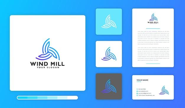 Modèle de conception de logo de moulin à vent