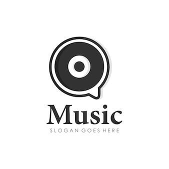 Modèle de conception de logo de musique de disque de chat