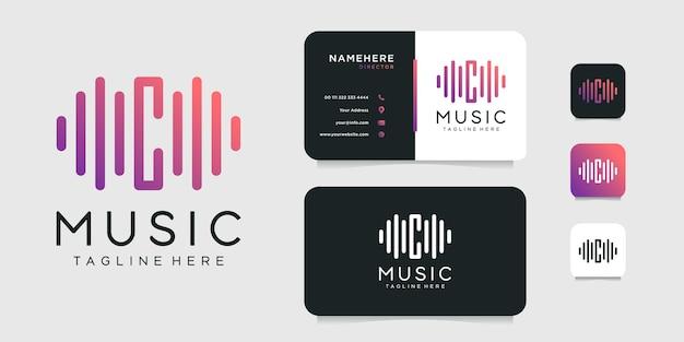 Modèle de conception de logo de musique lettre c et carte de visite.
