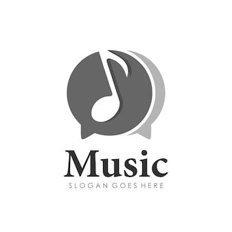 Modèle de conception de logo de musique mélodie de note de chat