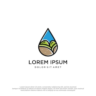 Modèle de conception de logo nature eau