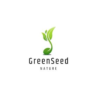 Modèle de conception de logo nature graine verte