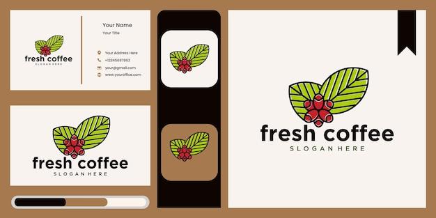 Modèle de conception de logo nature logo feuille de café symbole de feuille verte abstraite pour café dans la nature