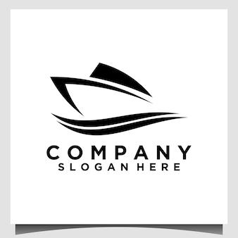 Modèle de conception de logo de navire et de vague