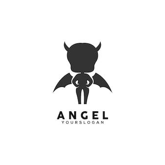 Modèle de conception de logo noir ange
