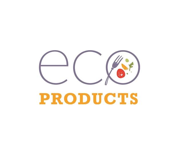 Modèle de conception de logo de nourriture de produits écologiques vectoriels avec des icônes de plat et de fourchette isolées