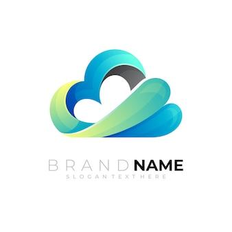 Modèle de conception de logo nuage 3d coloré