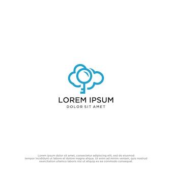 Modèle de conception de logo de nuage clé