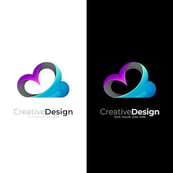 Modèle de conception de logo nuage simple, icône colorée 3d
