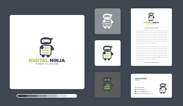 Modèle de conception de logo numérique ninja