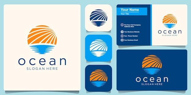 Modèle de conception de logo ocean wave