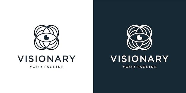 Modèle de conception de logo d'oeil visionnaire